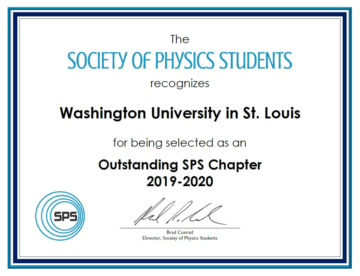SPS Award Certificate