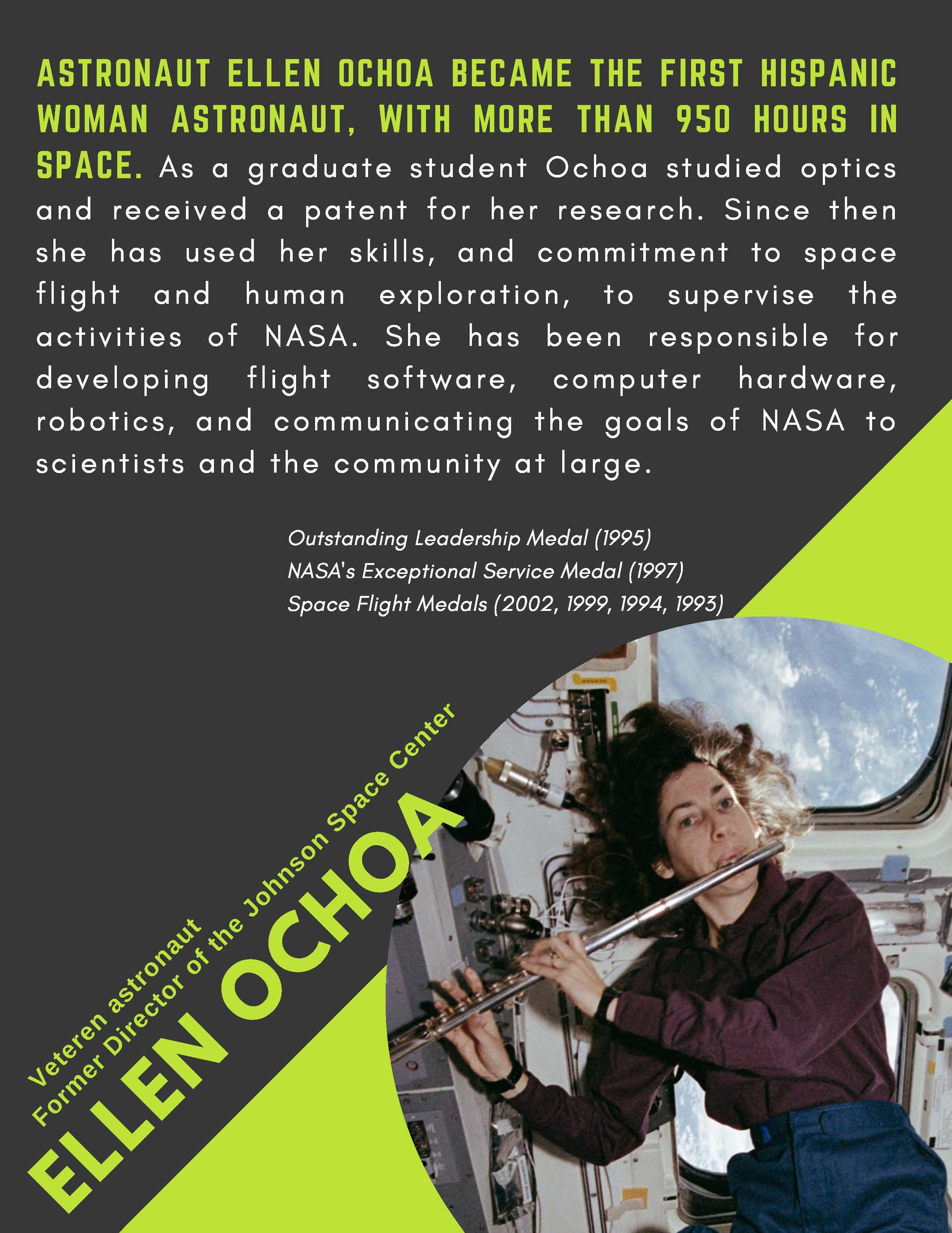 Astronaut Ellen Ochoa became the first Hispanic woman astronaut