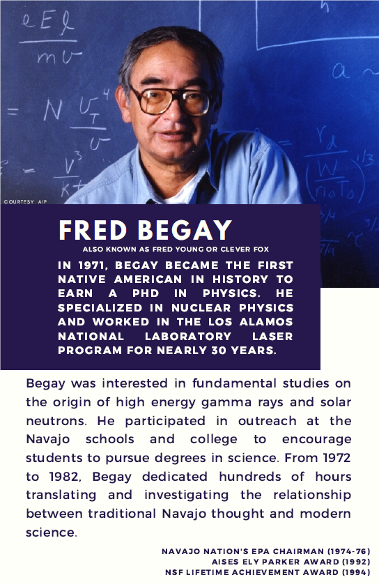 Fred Begay became the first Native American in history to earn a PhD in physics