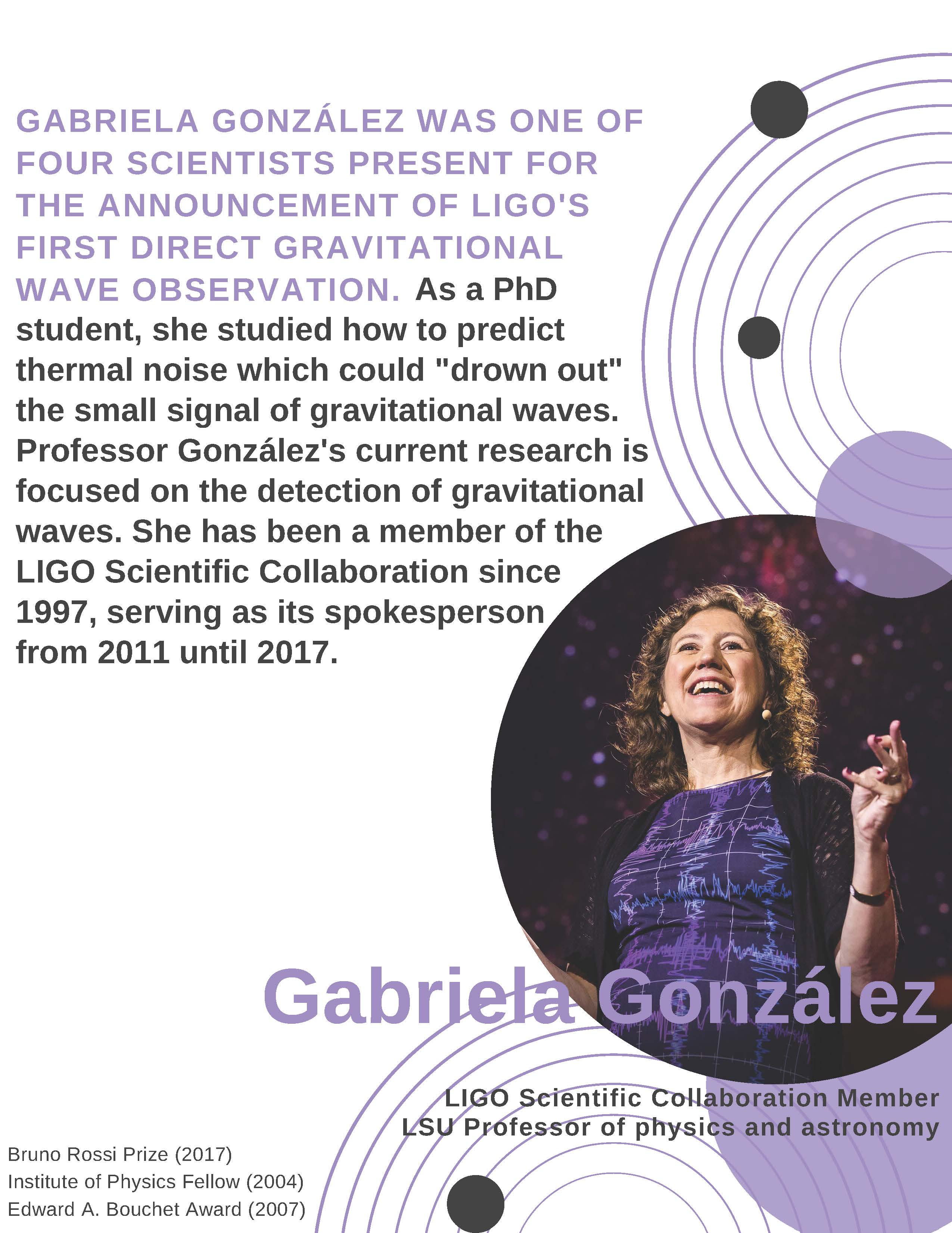 Gabriela Gonzalez was one of four scientists present for the announcement of LIGO's first direct gravitational  wave observation