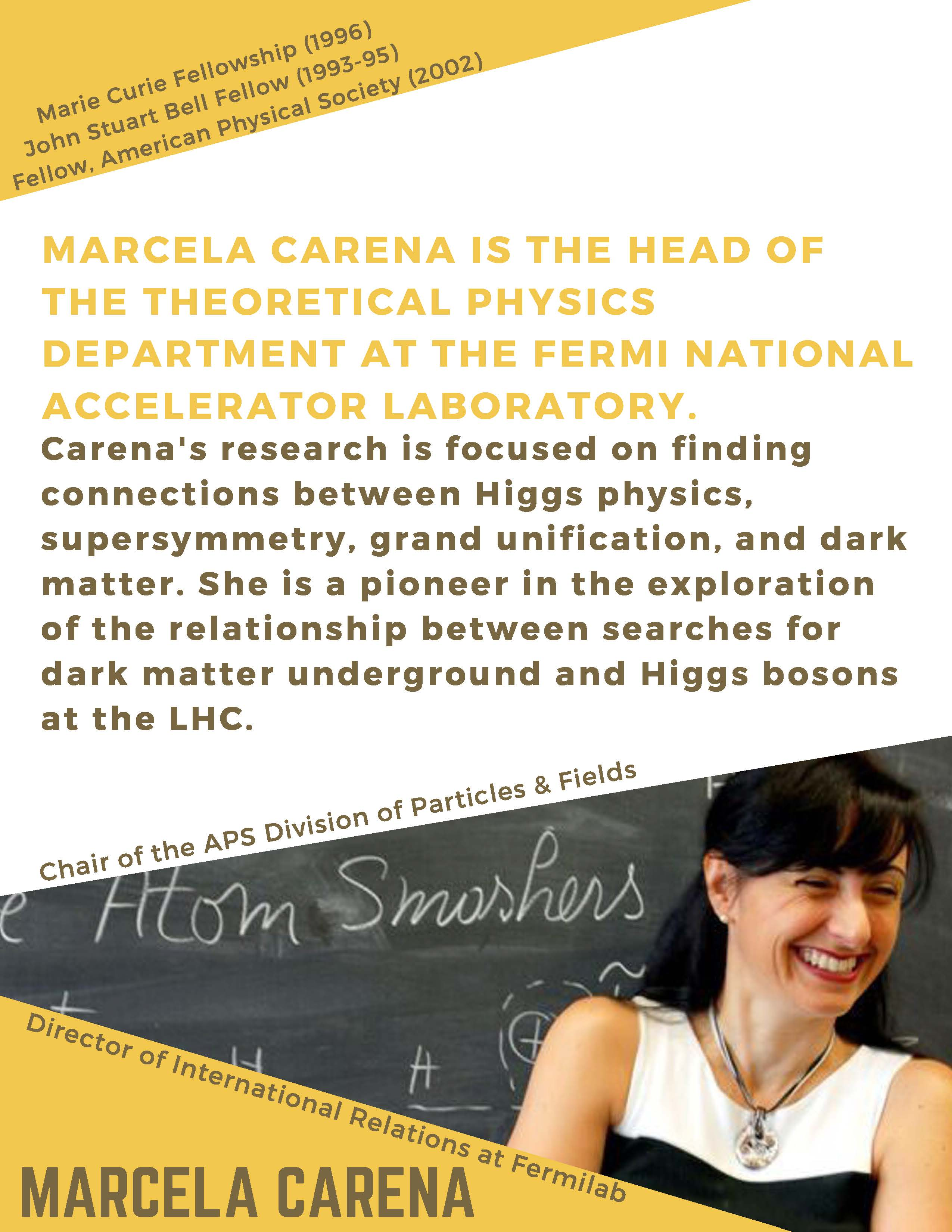 Marcela Carena is the Head of the Theoretical Physics Department at the Fermi National Accelerator Laboratory
