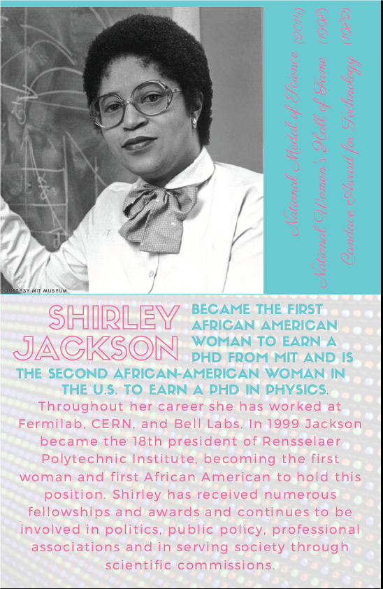 Shirley Jackson became the first African American woman to earn a PhD from MIT and is the second African American woman in the U.S. to earn a PhD in physics