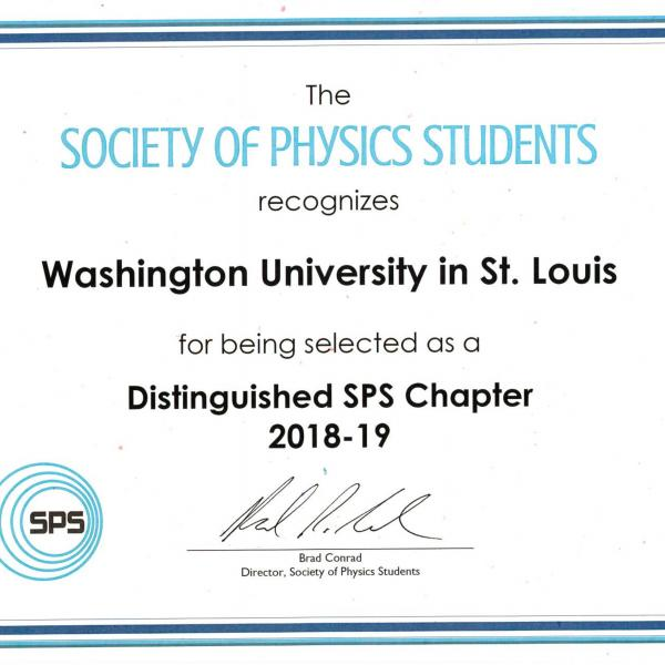 Society of Physics Students (SPS) Distinguished Chapter