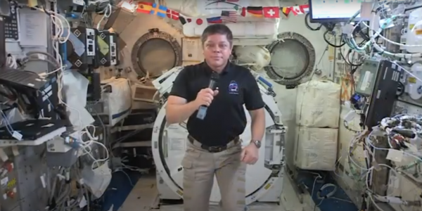 Behnken talking from the International Space Station