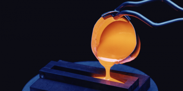 Molten glass being poured